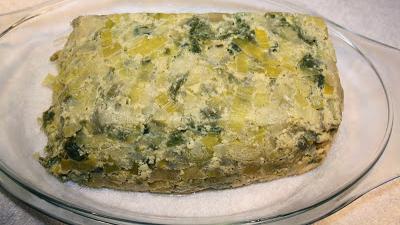 pastel de puerros con algas